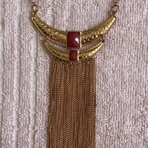 Jewelry - Long gold necklace with orange gems